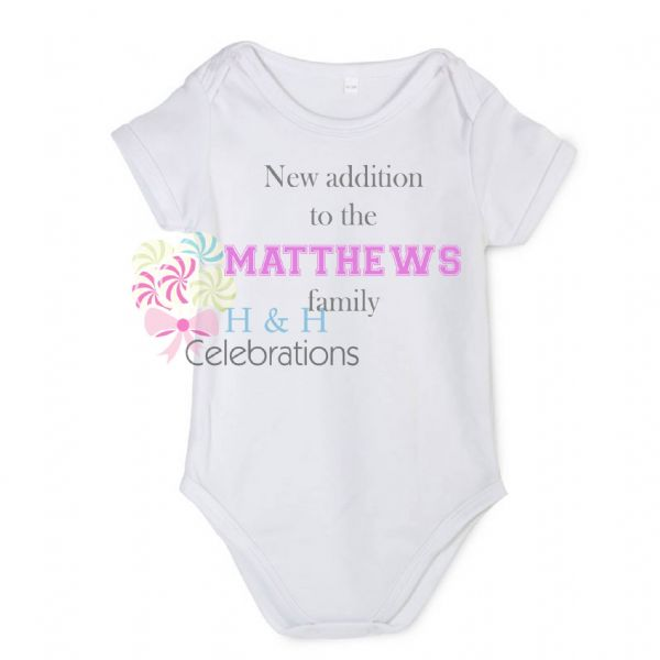 New Addition To The Family Personalised Baby Vest